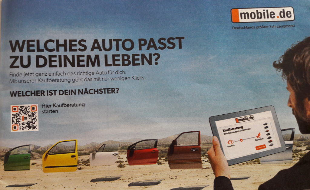Mobile QR Code Anzeige von Mobile.de in ADAC motorwelt