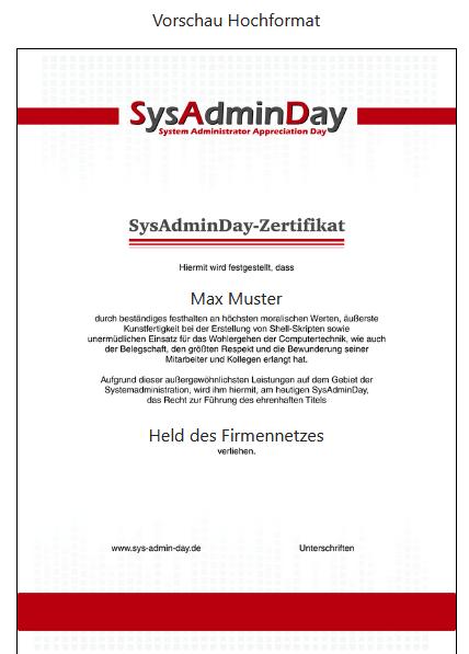SysAdmin Urkunde